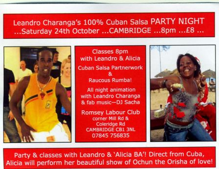 100% Cuban Salsa party in Cambridge with Leandro